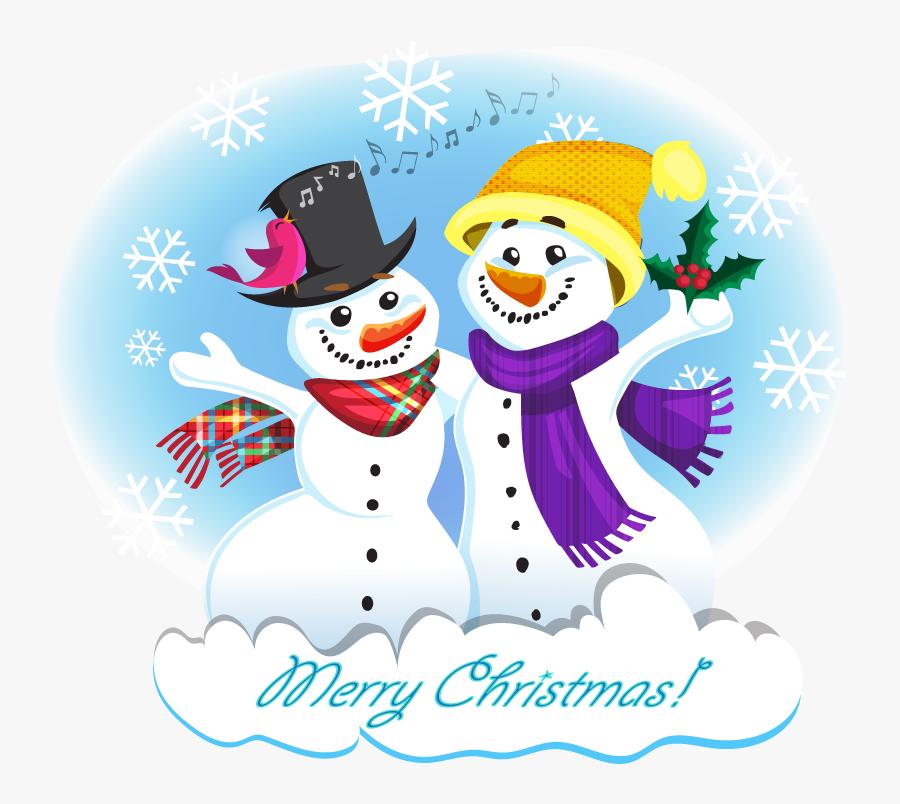 Transparent Cute Snowman Png - Two Snowman Clipart, Transparent Clipart