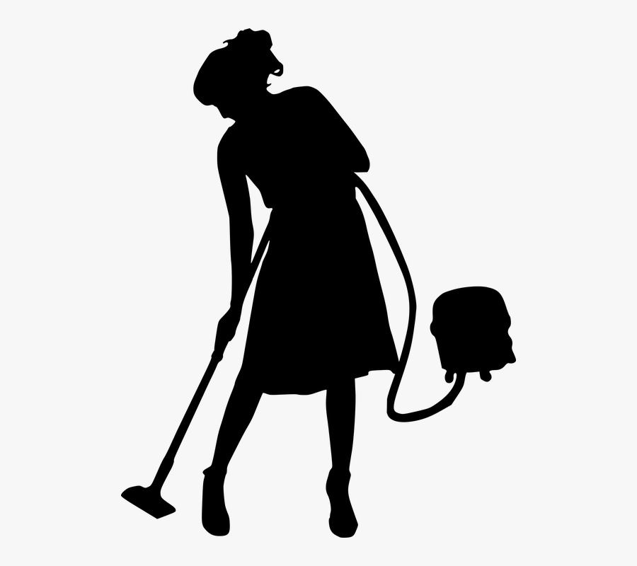 Clean, Cleaner, Cleaning, Service, Maid, Vacuum, Woman - Black And White Cleaning, Transparent Clipart