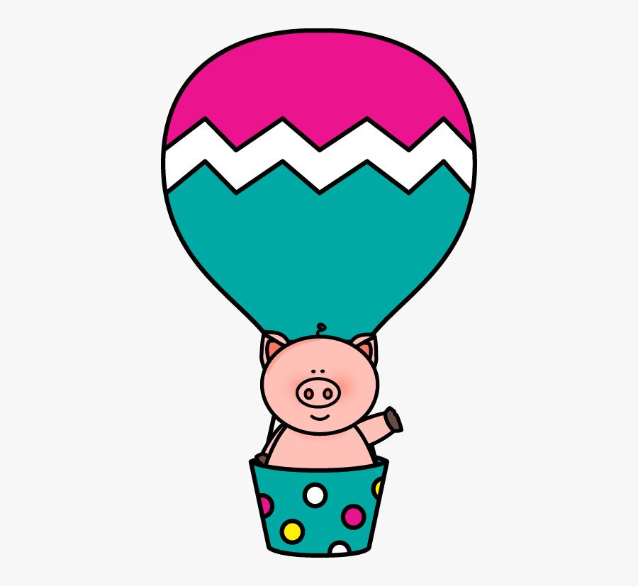 Pig In A Hot Air Balloon Clip Art - Cute Clip Art Hot Air Balloon, Transparent Clipart