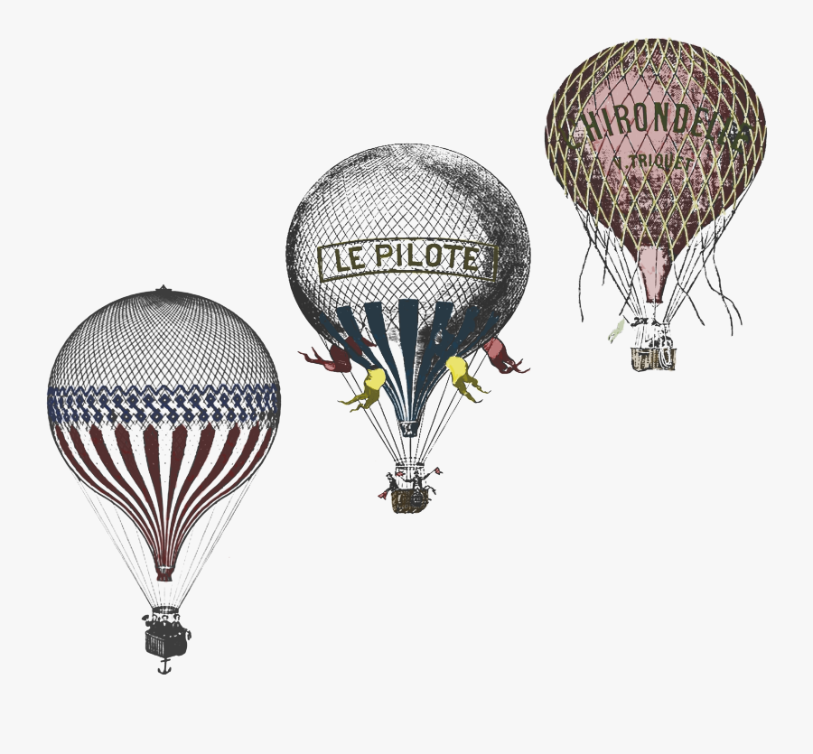 Clip Art Antique Race Design By - Vintage Hot Air Balloon Drawing Old, Transparent Clipart