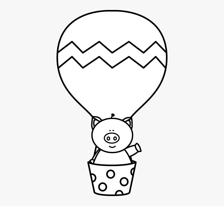 Hot Air Balloon Clip Art Black And White, Transparent Clipart