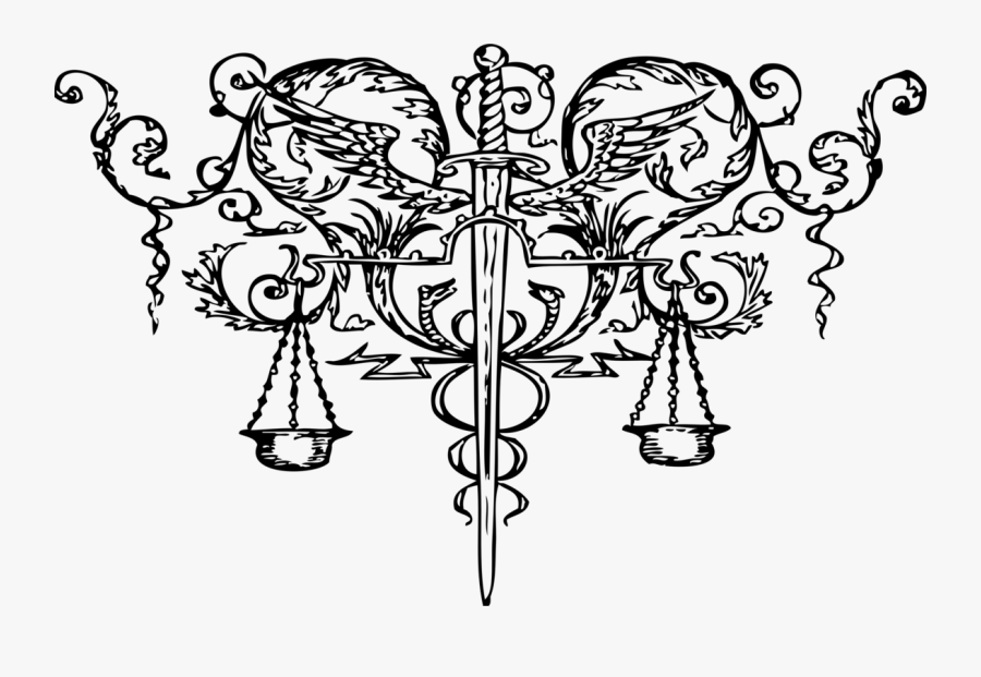 Tattoo Clip Art Sword Of Justice Tattoo Art - Scales Of Justice And Sword, Transparent Clipart
