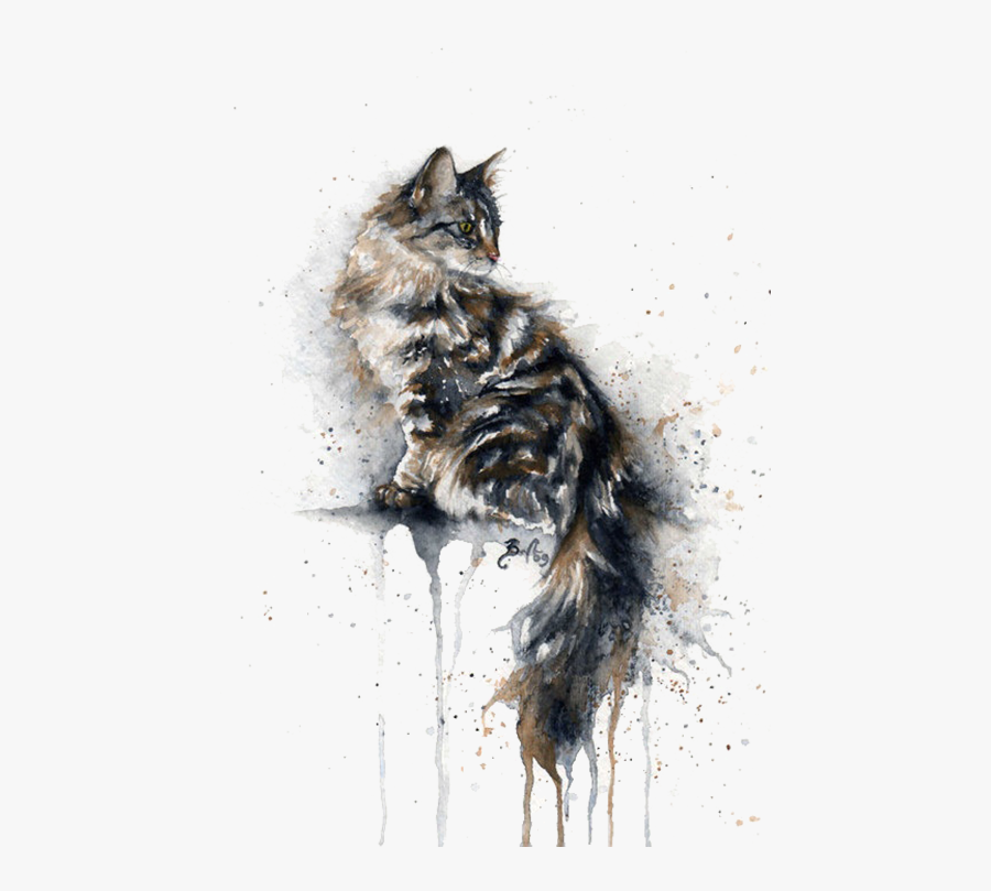 On Elevated Cat Watercolor Kitten Painting Drawing - Cat Watercolor Paintings, Transparent Clipart