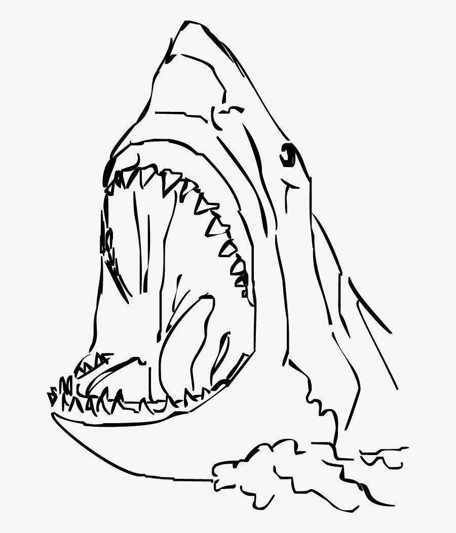 Drawing Sharks Easy Huge Freebie Download For Powerpoint - Simple Shark Head Drawing, Transparent Clipart