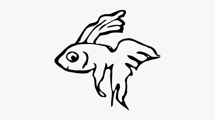 Art,monochrome Photography,fish - Black And White Betta Fish Clipart, Transparent Clipart