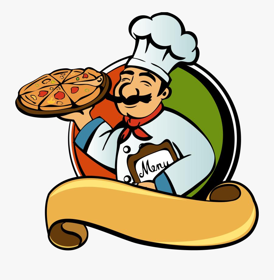 Pizza Italian Cuisine Chef Clip Art Pan - Cooking Man Vector Png, Transparent Clipart