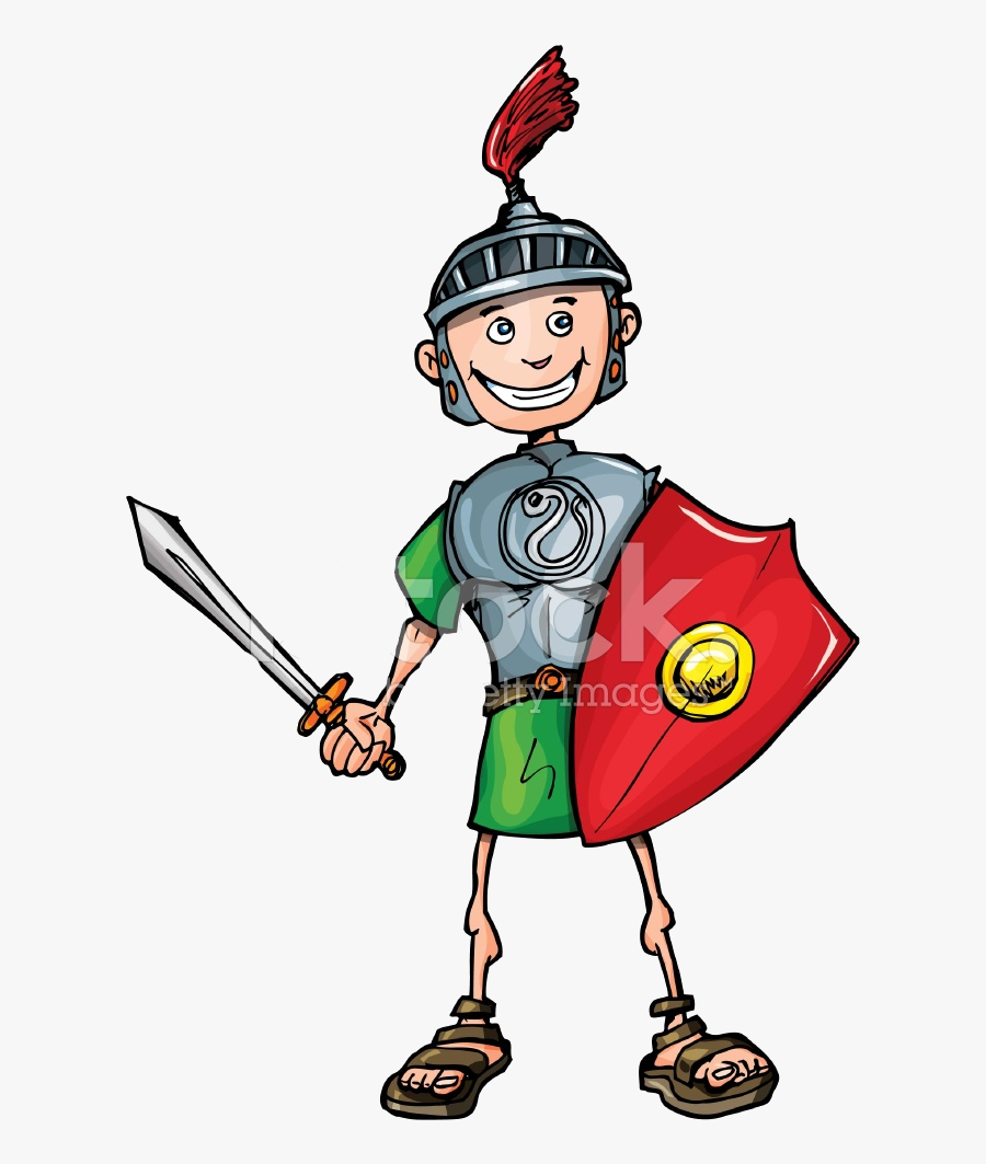 Transparent Keep Up The Good Work Clipart - Roman Soldier Cartoon  Illustration , Free Transparent Clipart - ClipartKey
