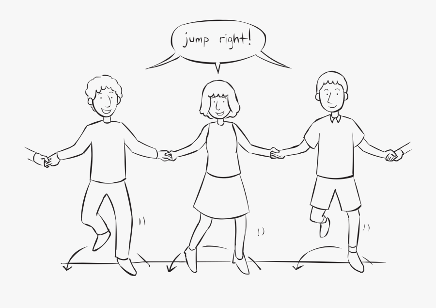 People Holding Hands In A Circle Jumping To Their Right, Transparent Clipart