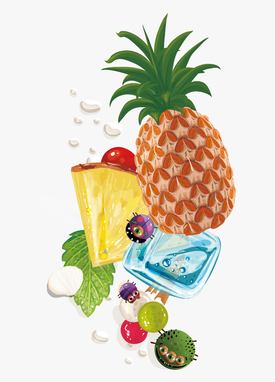 Pineapple Fruit Background Vector Material - Pineapple, Transparent Clipart
