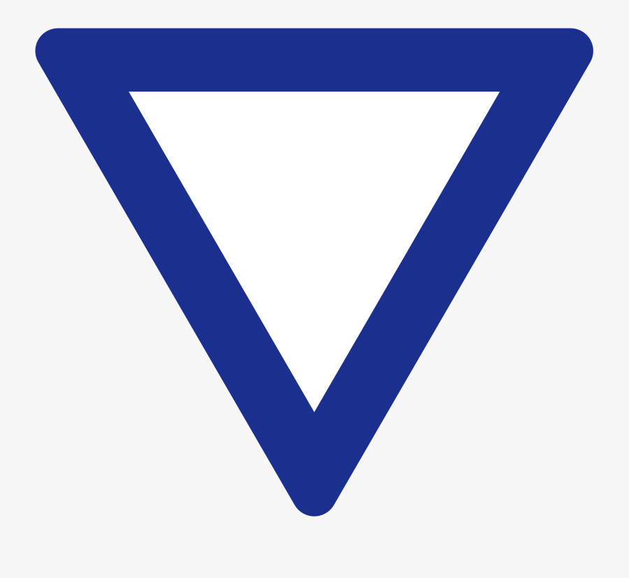 Blue Yield Sign - Blue Sign Upside Down Triangle Road, Transparent Clipart