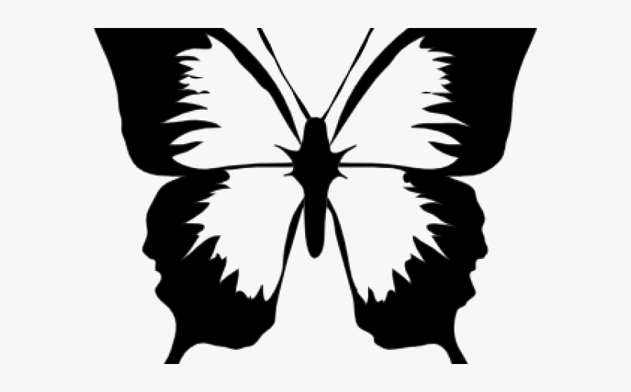 Easy Insect Cliparts - Butterfly Cartoon Black And White, Transparent Clipart