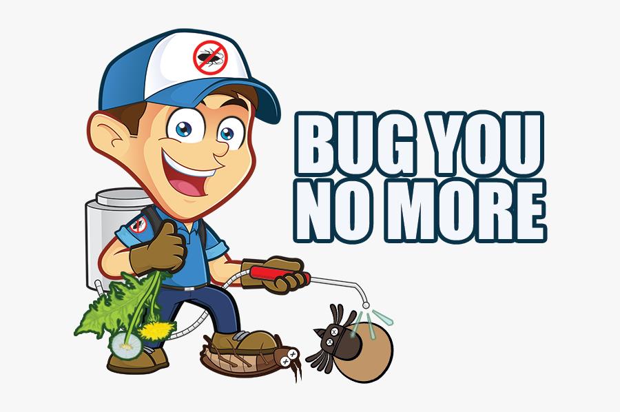 Bug You No More Man - Pest Control Mascot Logo, Transparent Clipart