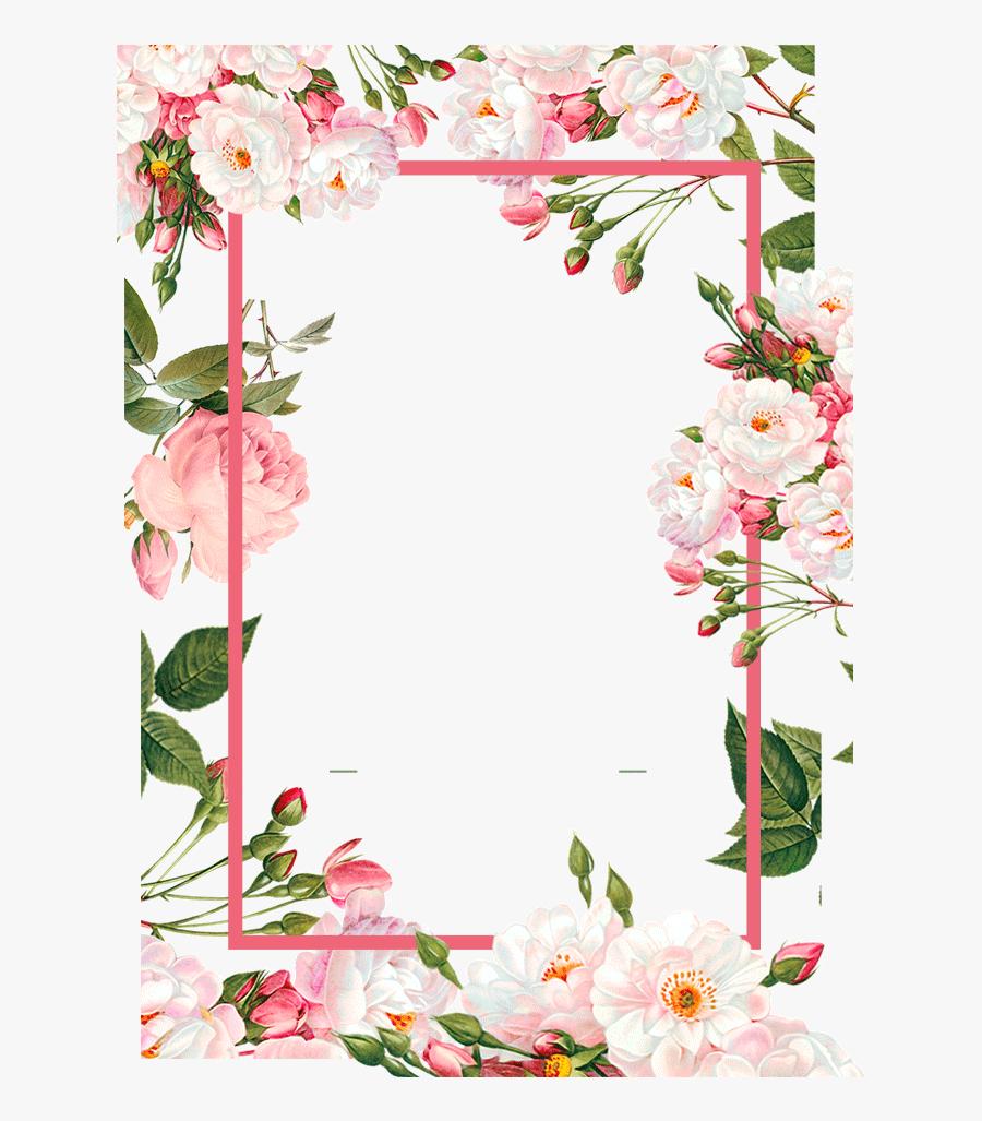 Transparent Pink Border Clipart - Floral Frame Png Free, Transparent Clipart