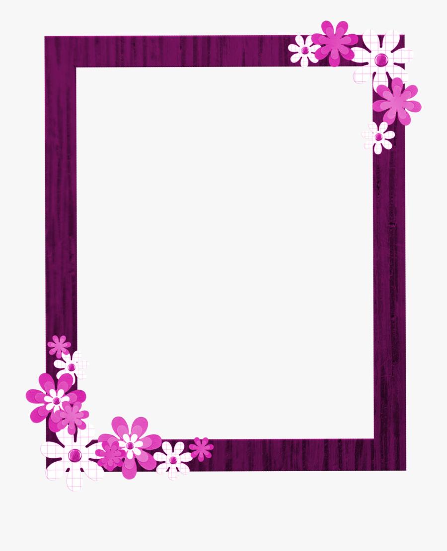 Pink Floral Border Png Picture - Flower Frame Border Design Png, Transparent Clipart