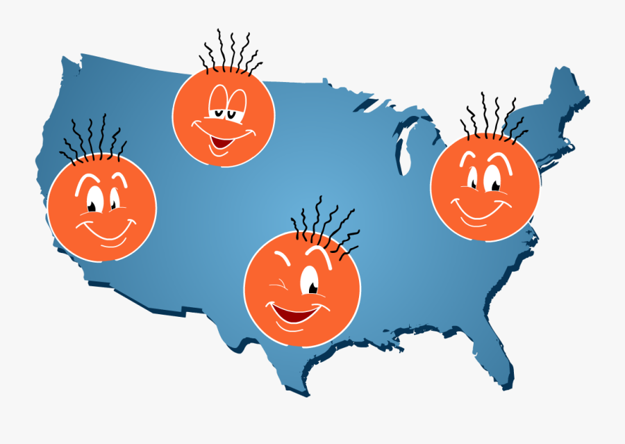 Arpy Faces Scattered On A Map Of The United States - Ferguson Missouri On A Map, Transparent Clipart