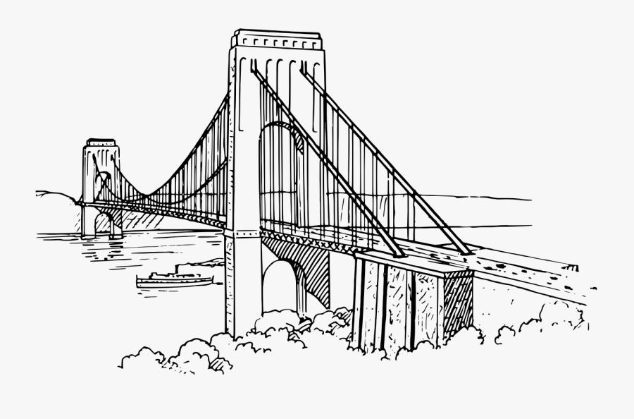 3d Drawing Of Suspension Bridge, Transparent Clipart