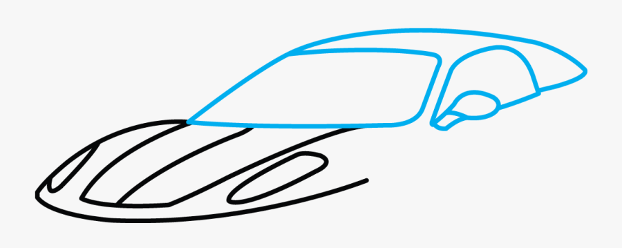 How To Draw Ferrari - Sports Car Drawing Easy, Transparent Clipart