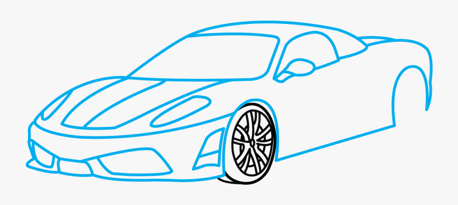 How To Draw Ferrari 360, A Sports Car, Easy Step By - Step By Step Drawing Ferrari, Transparent Clipart