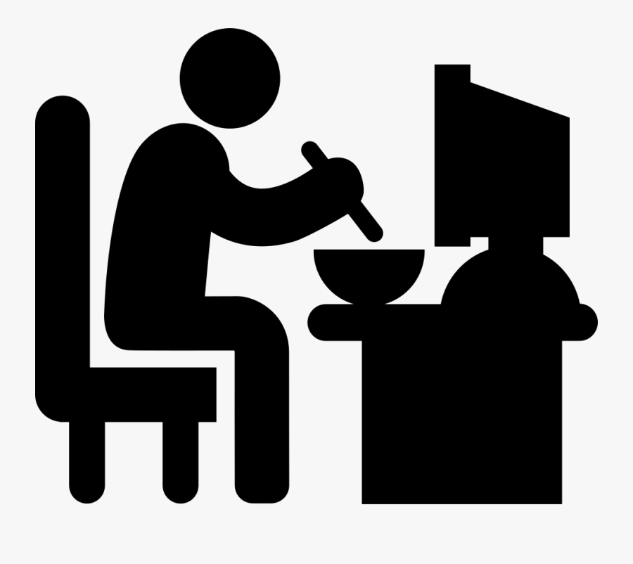 Man Sitting In His Job Desk Eating Lunch Comments - Sleeping At Work Icon, Transparent Clipart