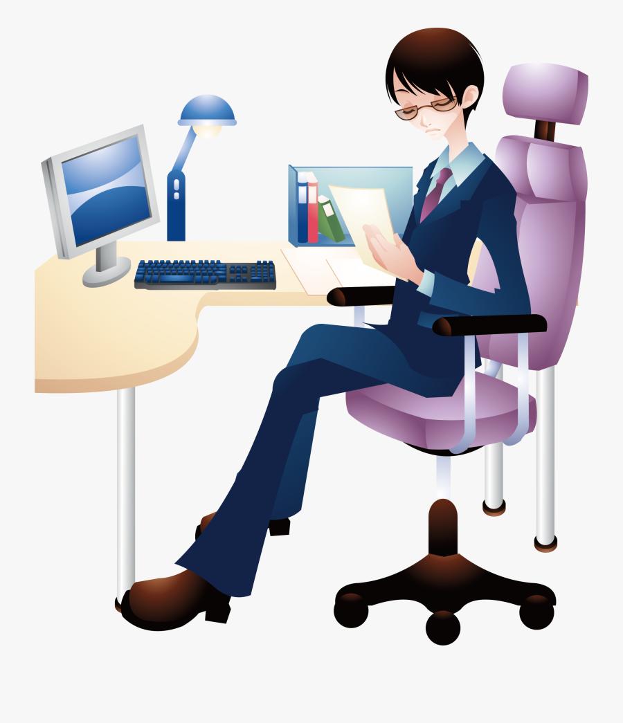Transparent Stool Clipart - Man With Computer Cartoon Png, Transparent Clipart