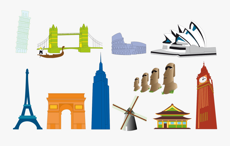 Clip Art Famous World Landmarks - Landmarks Around The World Icons, Transparent Clipart