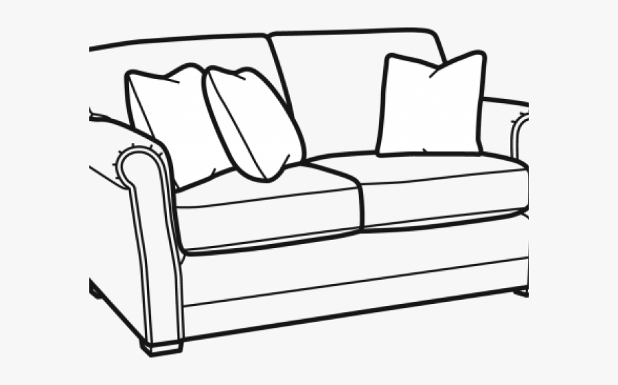 Drawn Couch Side View - Couch Clipart Black And White, Transparent Clipart