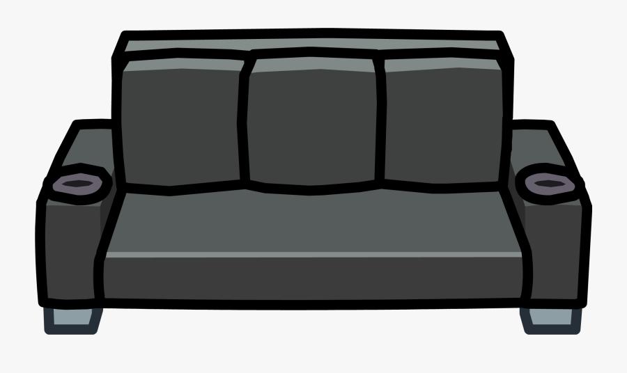 Black Designer Club Penguin - Black Couch Clipart, Transparent Clipart