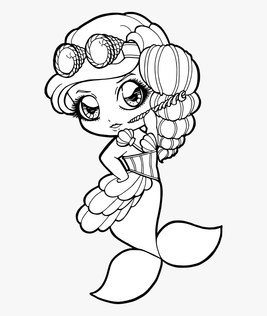 Drawing Shell Mermaid Clipart , Png Download - Mermaid Drawing Coloring Page, Transparent Clipart