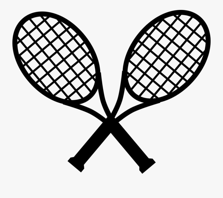 Tennis, Black, Two, Sports, Racket, Racquets, Crossing - Crossed Tennis Rackets Clipart, Transparent Clipart
