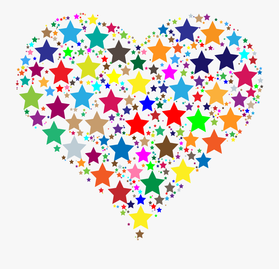 Colorful Heart Stars - Stars And Hearts Clipart, Transparent Clipart