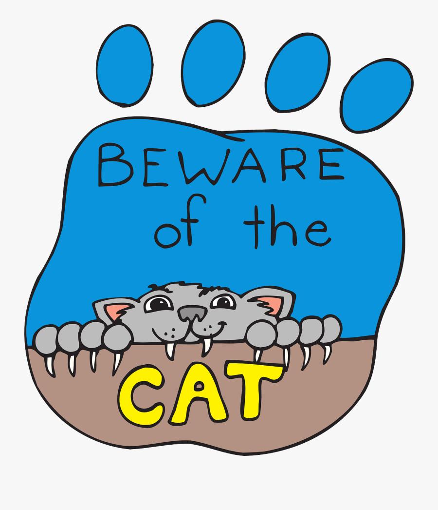 Cat, Print, Paw, Pet, Animal, Claws, Beware, Joke - Cat, Transparent Clipart