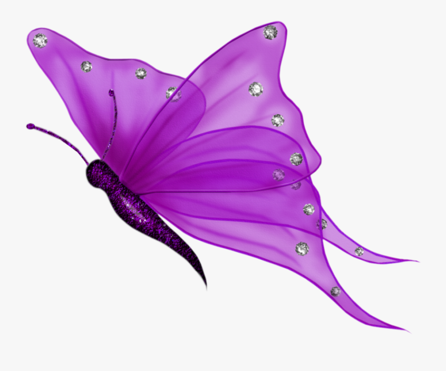 Butterfly Purple Wings Silver Wingedcreatures Shimmer - Transparent Background Butterfly Clipart, Transparent Clipart