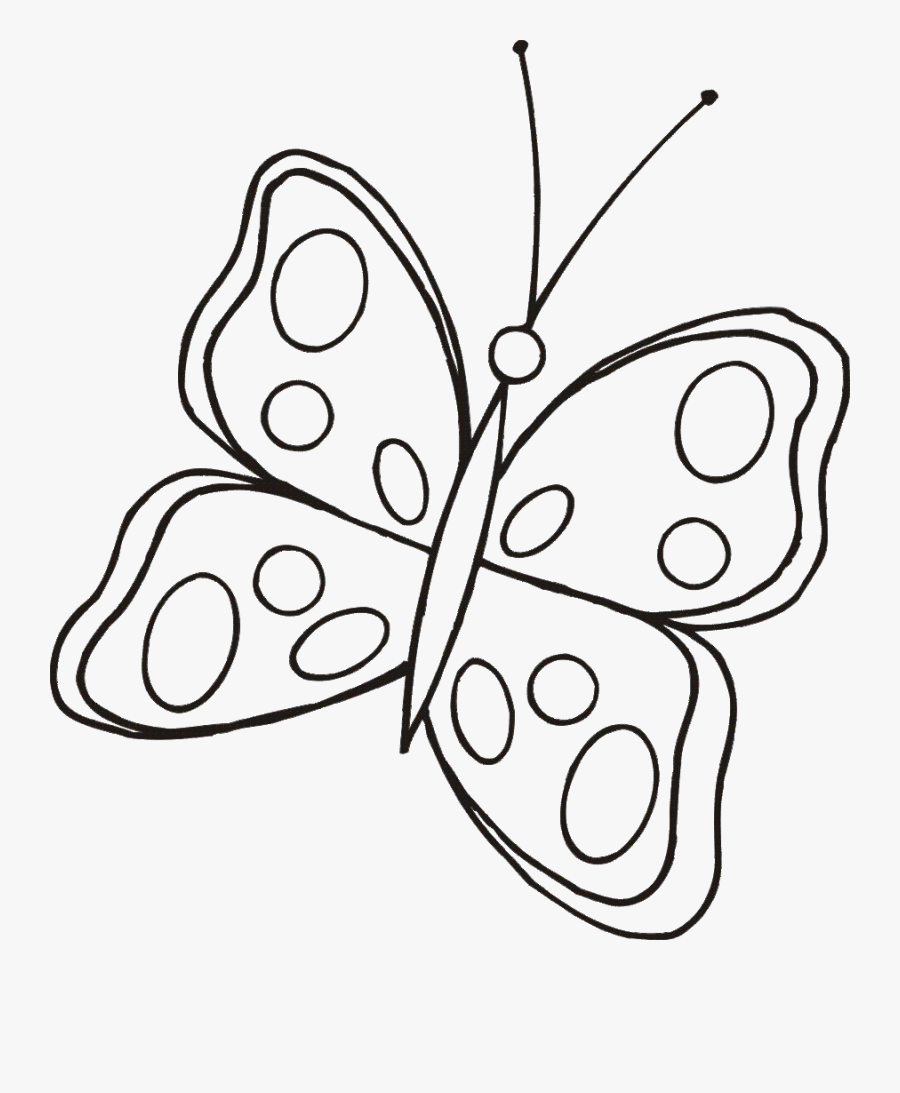 Transparent Butterfly Clipart Black And White - Easy Butterflies Line Drawing, Transparent Clipart