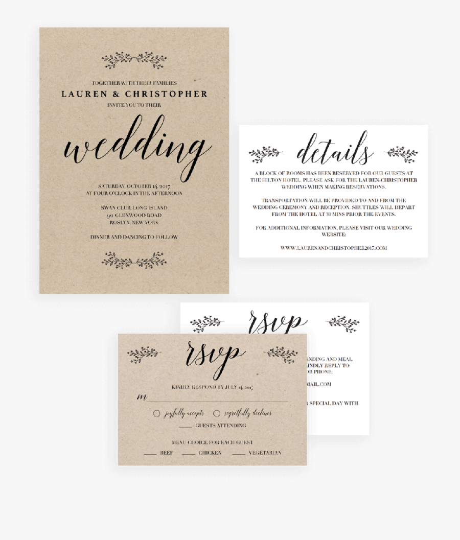 Clip Art Rustic Wedding Invitation Template - Calligraphy, Transparent Clipart