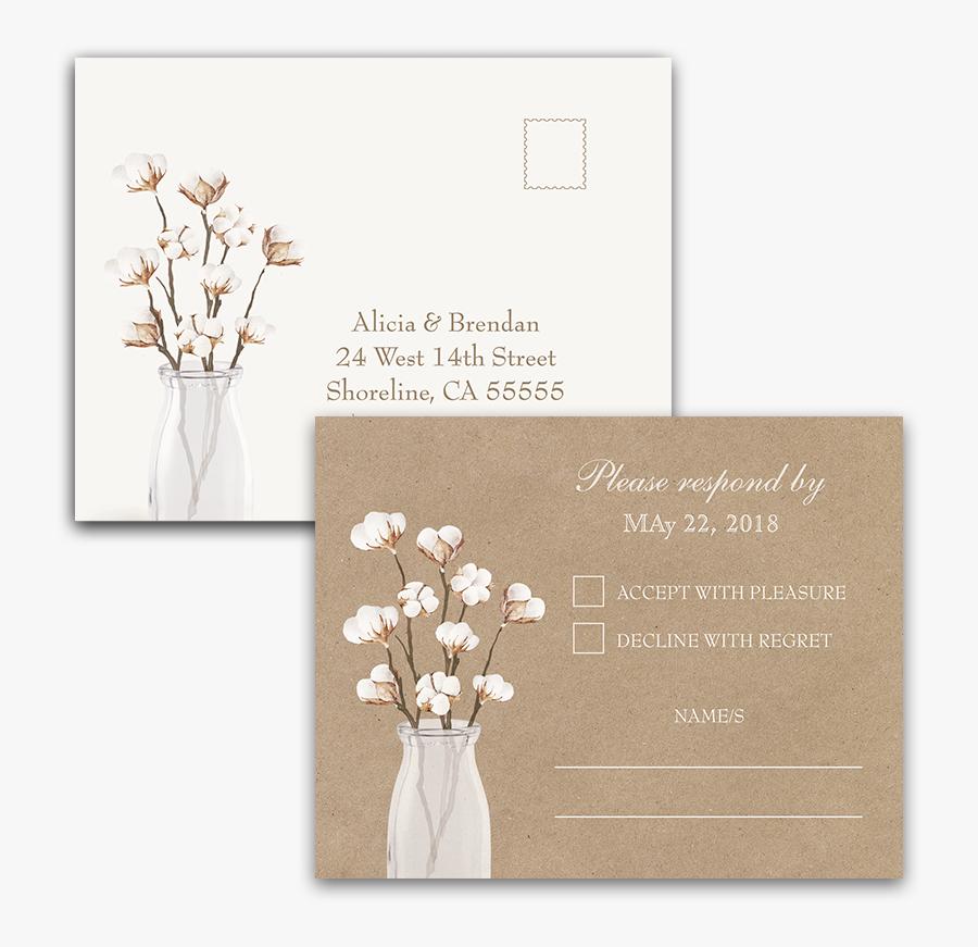 Rustic Cotton Theme Kraft Paper Wedding Rsvp Postcard - Bouquet, Transparent Clipart