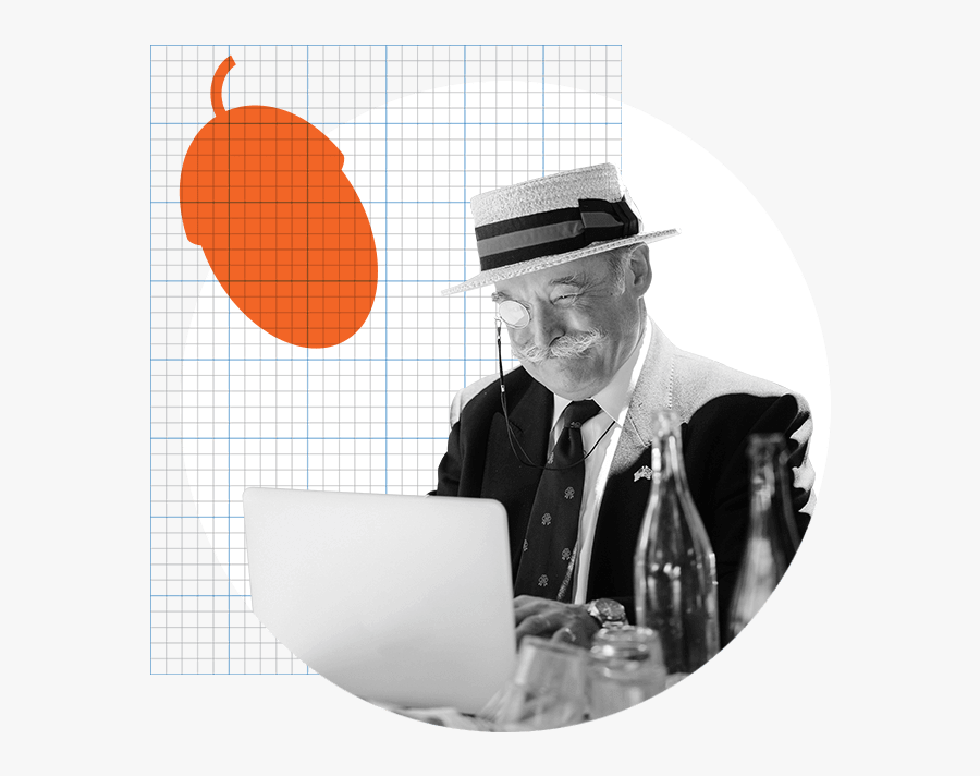 Old Man With A Monocle Working On His Computer - Old Age, Transparent Clipart