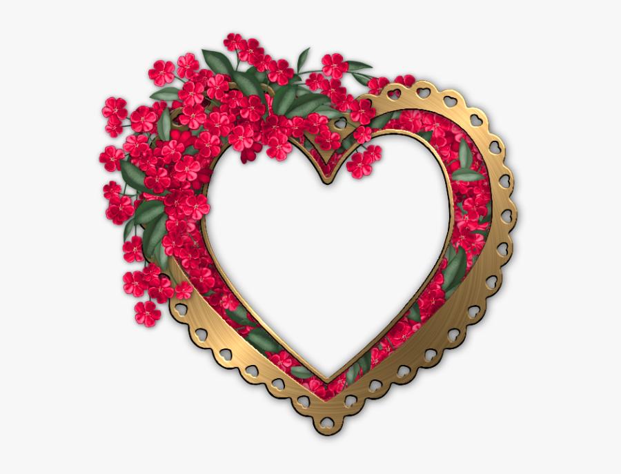 Heart Flower Frame Png Clipart , Png Download - Heart Shaped Flower Frame, Transparent Clipart