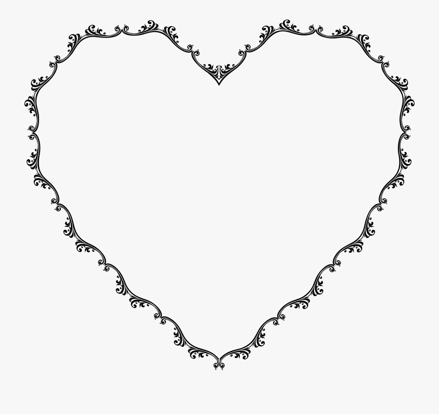 Transparent Decorative Frames Png - Floral Heart Border Black And White, Transparent Clipart