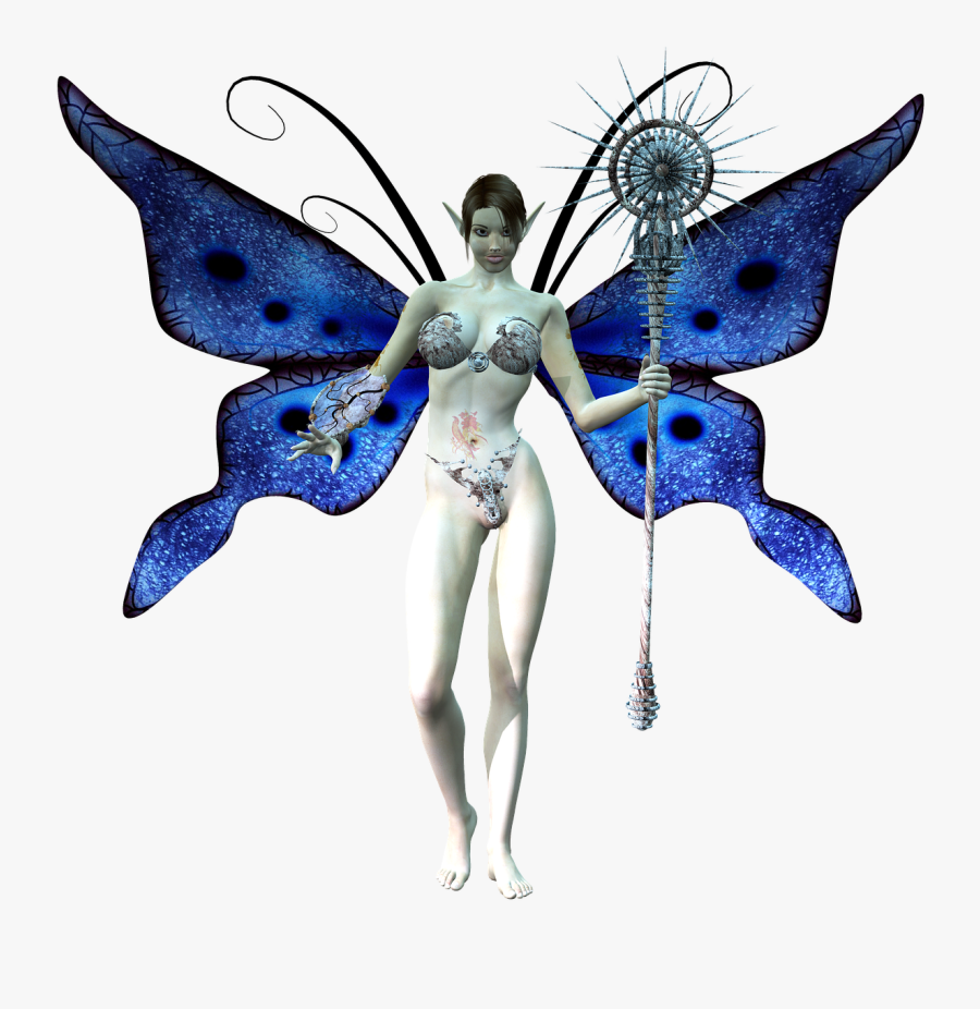 Fairy Wings Staff Free Picture - Fantasy Butterfly Person Png, Transparent Clipart