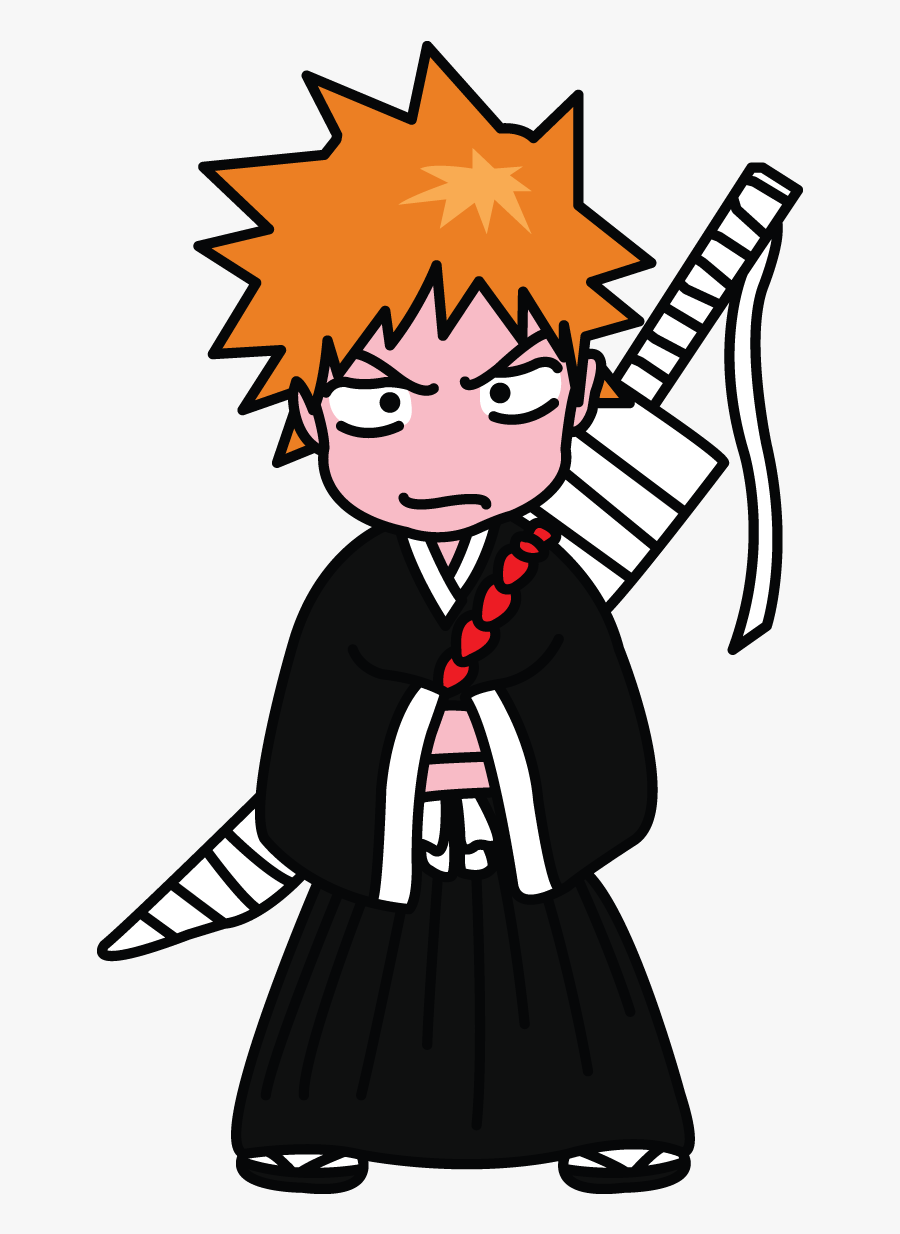 How To Draw Ichigo Kurosaki Of Bleach, Manga, Easy - Easy Bleach Drawing, Transparent Clipart