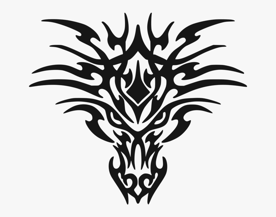 Monochrome Photography,plant,logo - Tribal Dragon Face Tattoo, Transparent Clipart