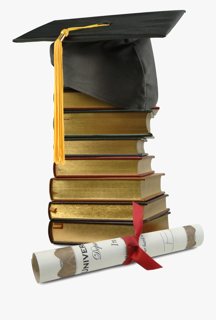 Curriculum Cap Books Diploma - Transparent Background Books With Graduation Cap, Transparent Clipart