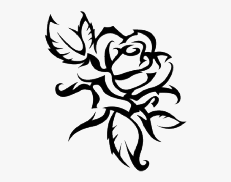 #rose #outline #flower #tribal - Sketch Flowers Clipart Png, Transparent Clipart