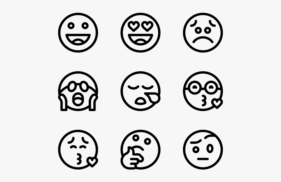 Emojis - Laughing Emojis Black And White, Transparent Clipart