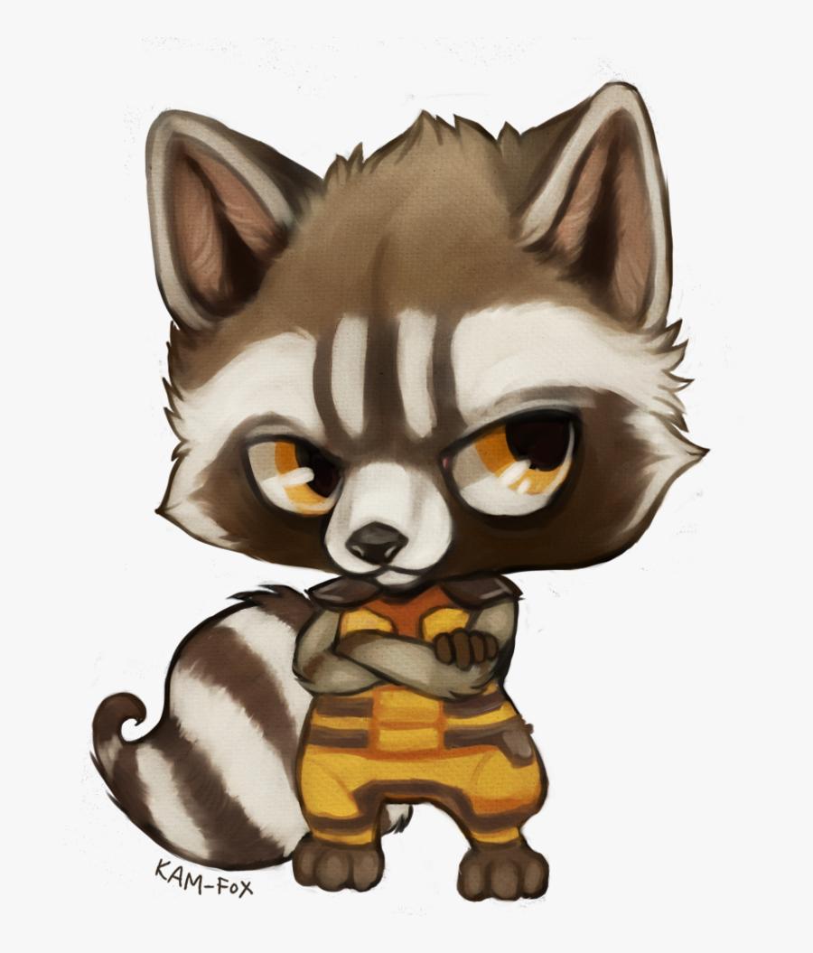 Transparent Raccoon Clipart - Guardians Of The Galaxy Rocket Chibi, Transparent Clipart