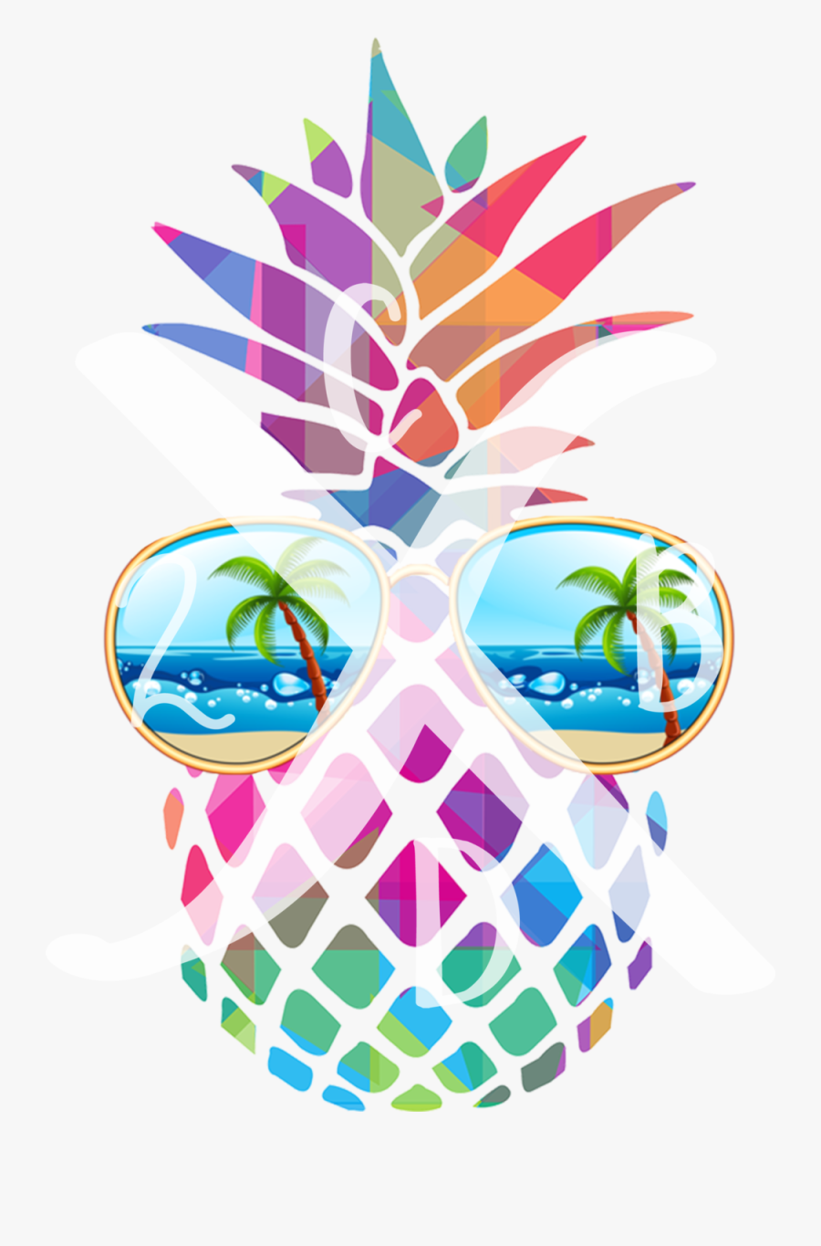Pineapplewithsunglasses1 - Black And White Pineapple Sticker, Transparent Clipart
