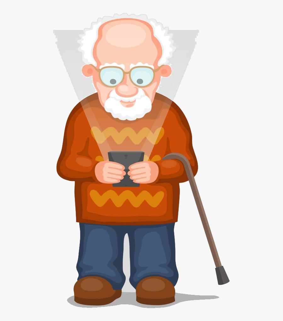 Grandfather Clipart Extreme Old Age - Old Man With Mobile Clipart, Transparent Clipart