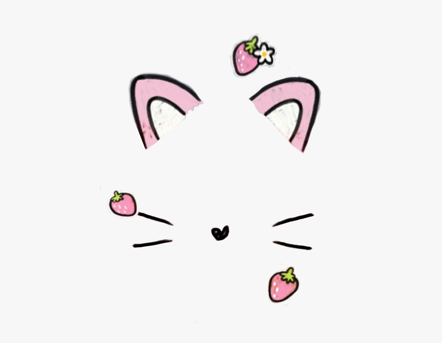 #filter #snowfilter #sticker #ears #whisker #cute #strawberry - Snapchat Filter Transparent Background, Transparent Clipart