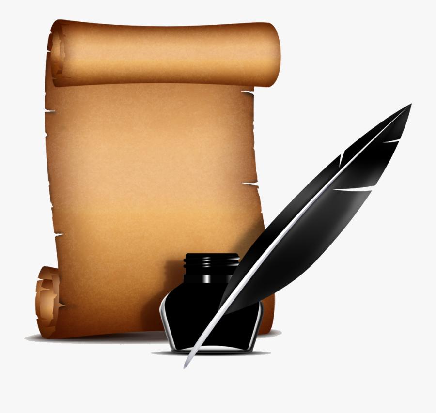 Poem Clipart Colored Feather Pen - Old Pen Paper Png, Transparent Clipart