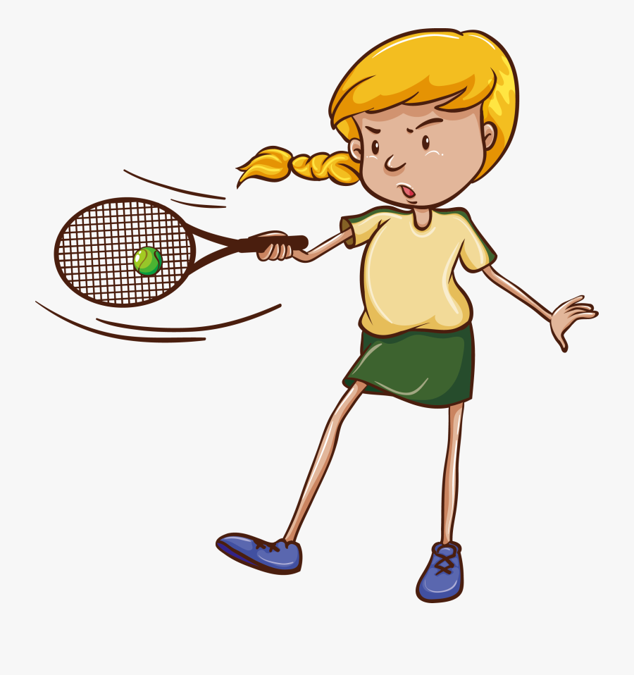 Transparent Girl Tennis Player Clipart - Simple Drawing Of Badminton, Transparent Clipart